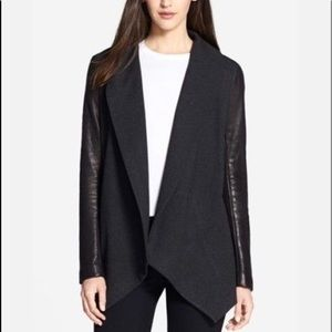 Theory Leather Sleeve Sweater Wrap Jacket